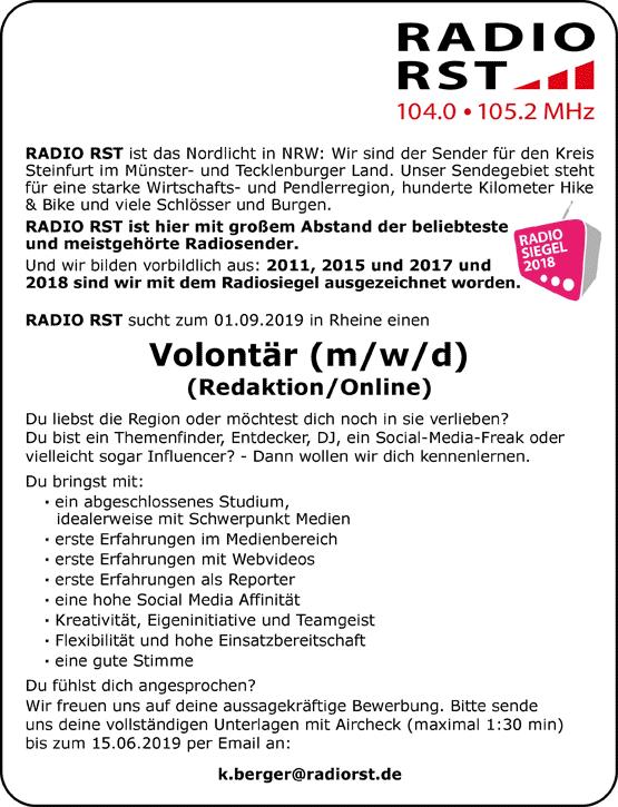 RADIO RST sucht Volontär (m/w/d) (Redaktion / Online)