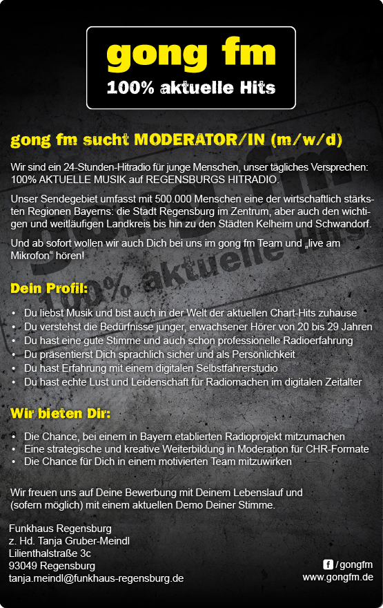 gong fm sucht Moderator/in (m/w/d)