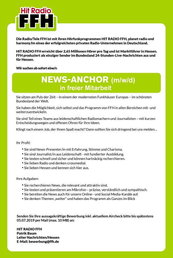 HIT RADIO FFH sucht News-Anchor (m/w/d)