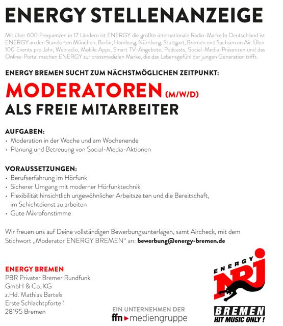 Stellenanzeige: ENERGY Bremen sucht freie Moderatoren (m/w/d)