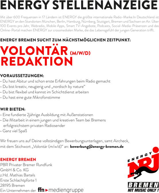 ENERGY Bremen sucht Volontär (m/w/d) Redaktion