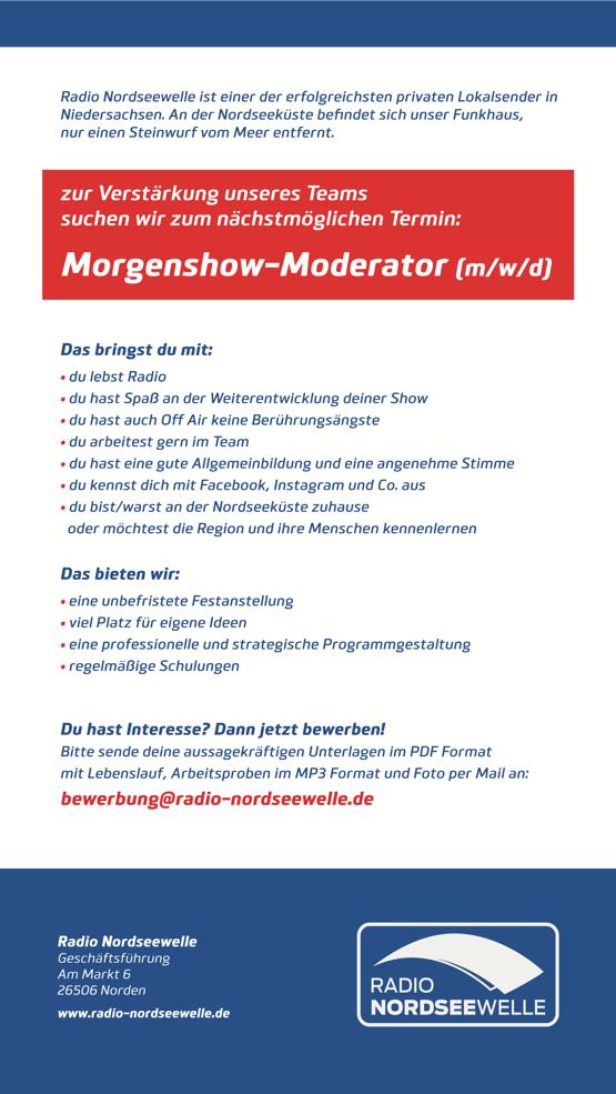 Radio Nordseewelle sucht Morgenshow-Moderator (m/w/d)