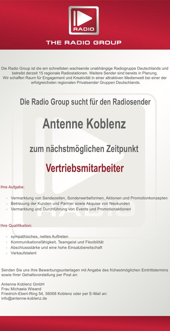 The Radio Group sucht Vertriebsmitarbeiter für Antenne Koblenz