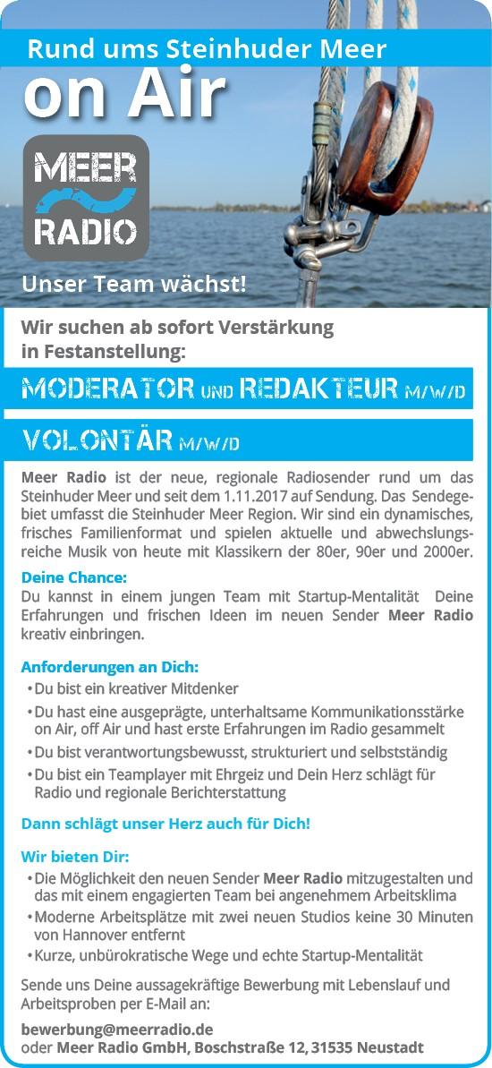 MEER RADIO sucht Moderator / Redakteur (m/w/d) und Volontär (m/w/d)