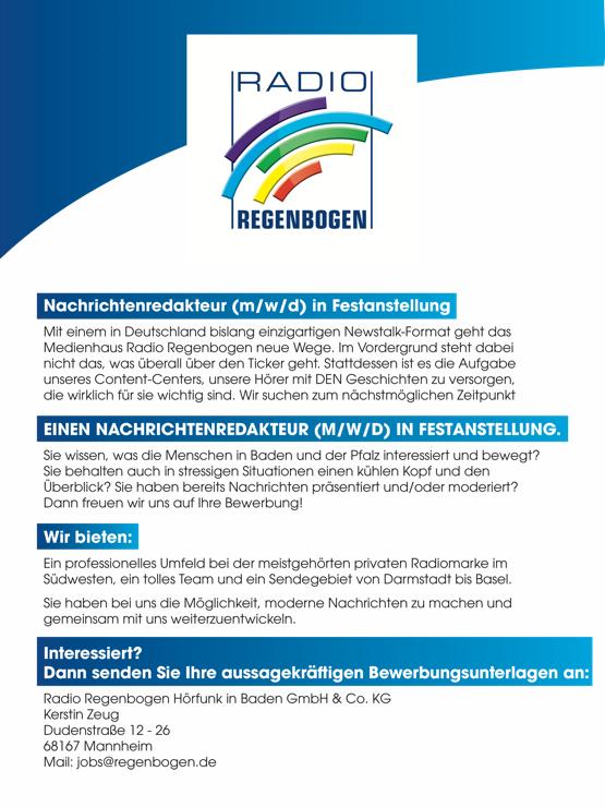 Radio Regenbogen sucht Nachrichtenredakteur (m/w/d) in Festanstellung