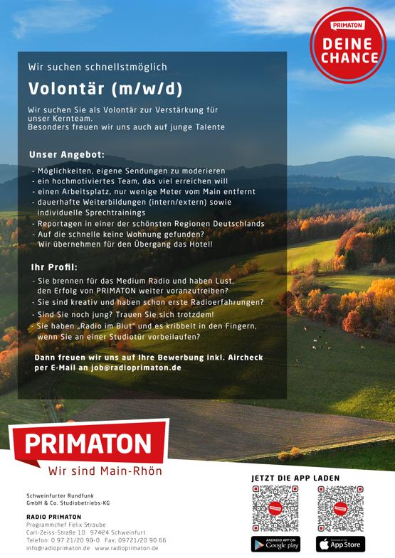 RADIO PRIMATON sucht Volontär (m/w/d)