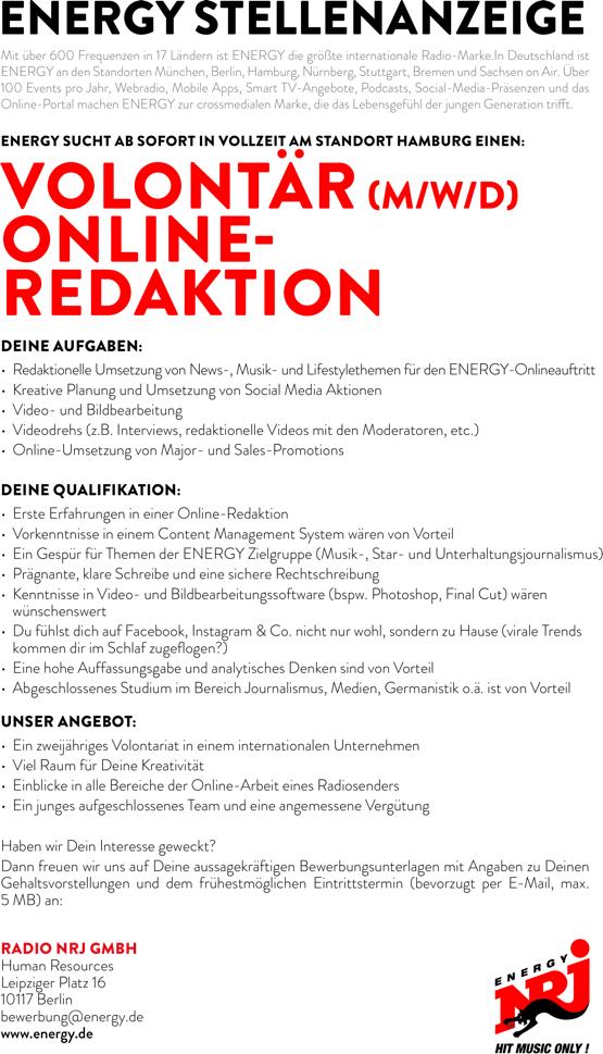 ENERGY Hamburg sucht Volontär (m/w/d) Online-Redaktion