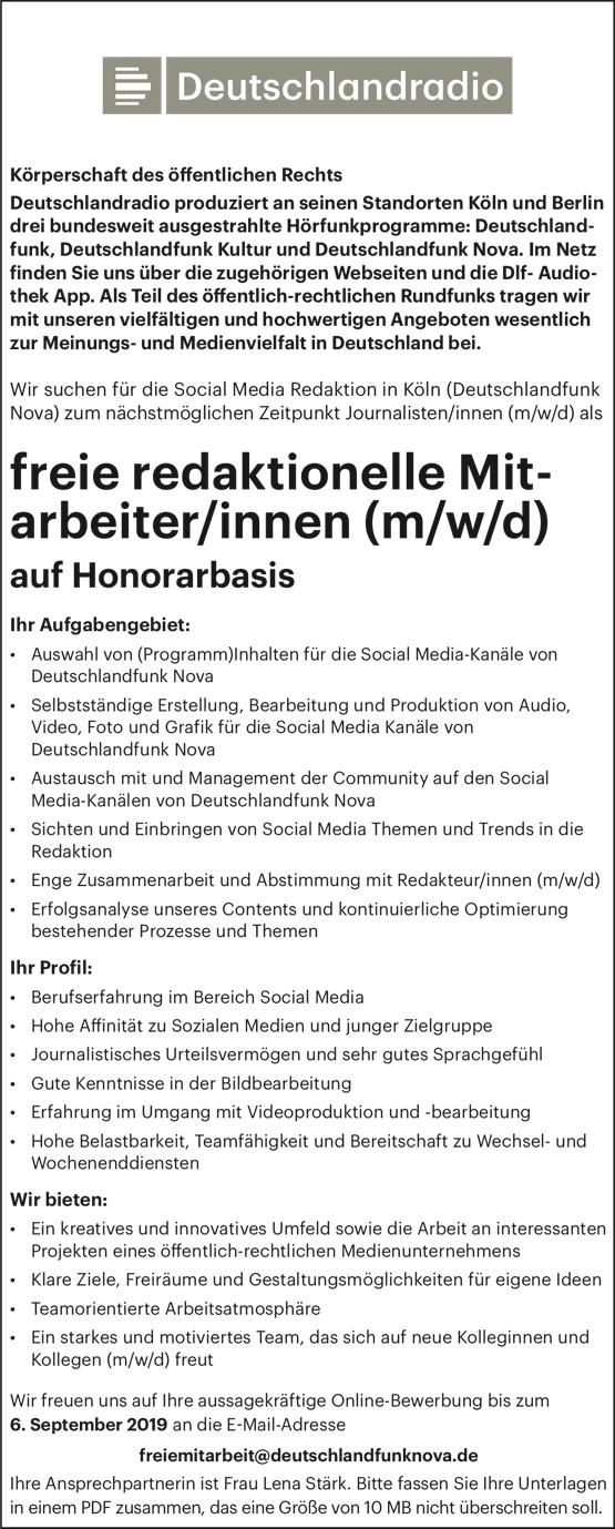 Deutschlandfunk Nova sucht freie redaktionelle Mitarbeiter/innen (m/w/d)