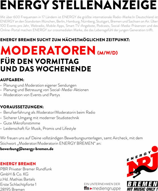 ENERGY Bremen sucht Moderatoren (m/w/d) für Vormittag und Wochenende