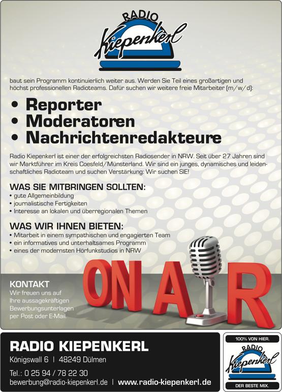 Radio Kiepenkerl sucht Reporter, Moderatoren, Nachrichtenredakteure (m/w/d)