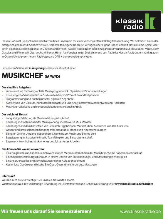 Klassik Radio sucht einen Musikchef (m/w/d)