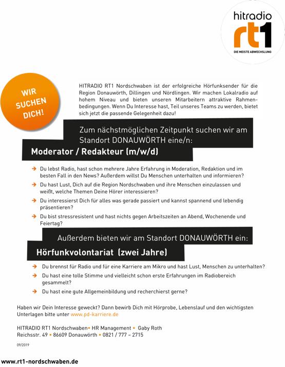 HITRADIO RT1 Nordschwaben sucht Moderator/Redakteur (m/w/d)
