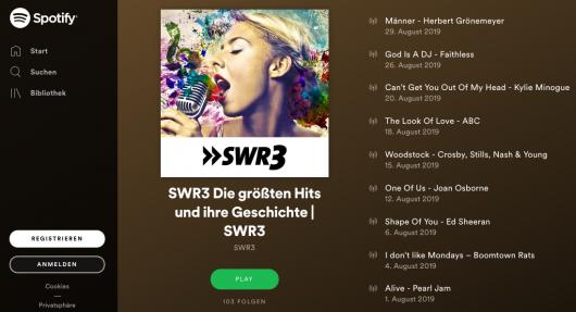 SWR3 Playlists bei Spotify (Bild: ©Spotify/SWR)