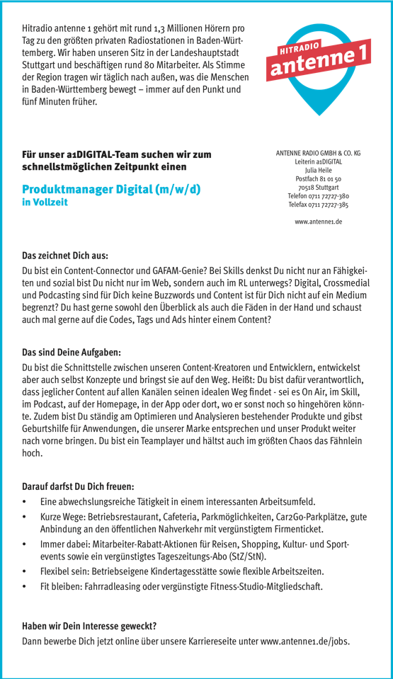Hitradio antenne 1 sucht Produktmanager Digital (m/w/d)