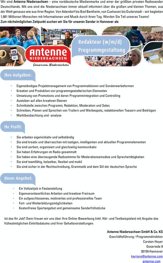 Antenne Niedersachsen sucht Redakteur (w/m/d) Programmgestaltung