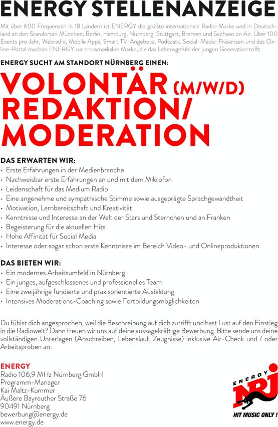 ENERGY Nürnberg sucht Volontär (m/w/d) Redaktion/Moderation