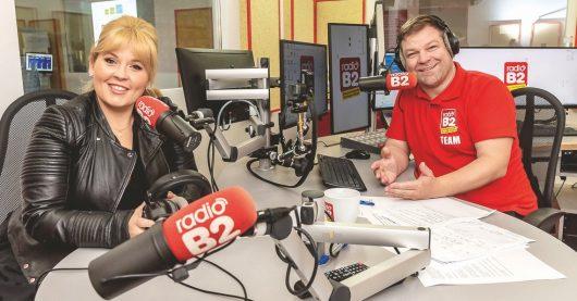 Schlagerstar Maite Kelly und radio B2-Morgenmoderator Normen Sträche im Studio von Schlagersender radio B2. (Bild: ©twinkle)