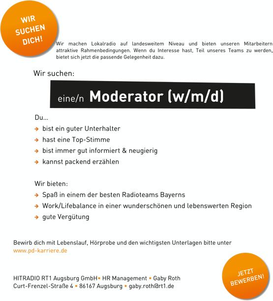 HITRADIO RT 1 sucht Moderator (w/m/d)