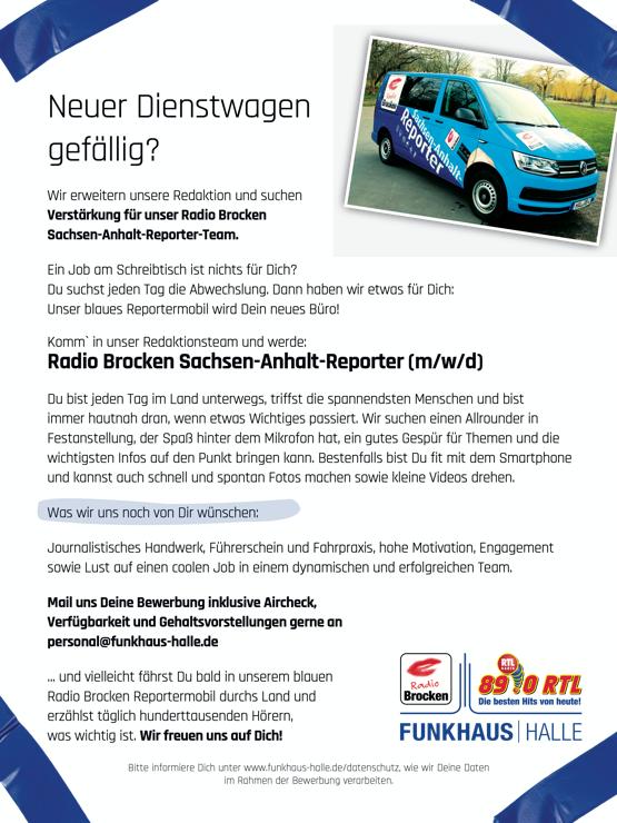 Radio Brocken sucht Sachsen-Anhalt-Reporter (m/w/d)