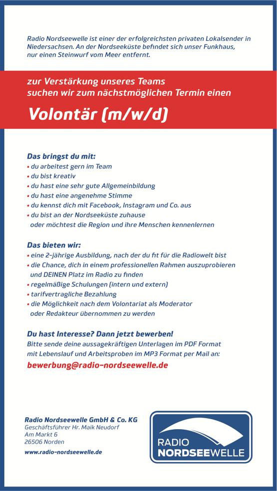 Radio Nordseewelle sucht Volontär (m/w/d)