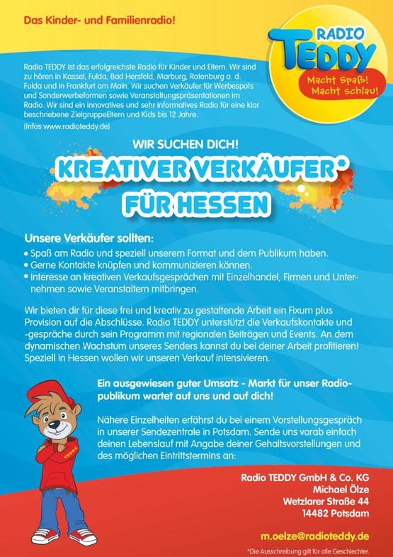 Radio TEDDY sucht kreativen Verkäufer* für Hessen