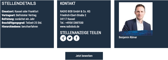 RADIO BOB! sucht Assistenz Audio Sales (w/m/d)