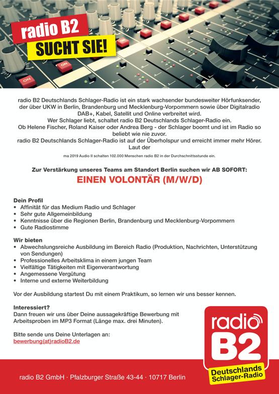 radio B2 sucht Volontär (m/w/d)