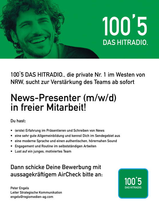 100'5 DAS HITRADIO. sucht News-Presenter (m/w/d)