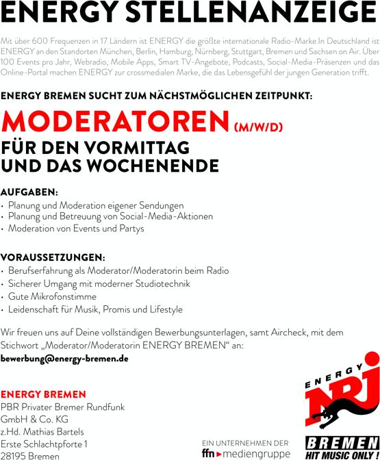 ENERGY Bremen sucht zum nächstmöglichen Zeitpunkt Moderatoren (m/w/d) für den Vormittag und das Wochenende