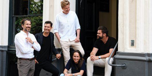 Podimo-Team Morten Strunge, Nikolaj Koppel, Sverre Dueholm, Andreas Sachse und Eva Lægdsgaard (Bild: Podimo)