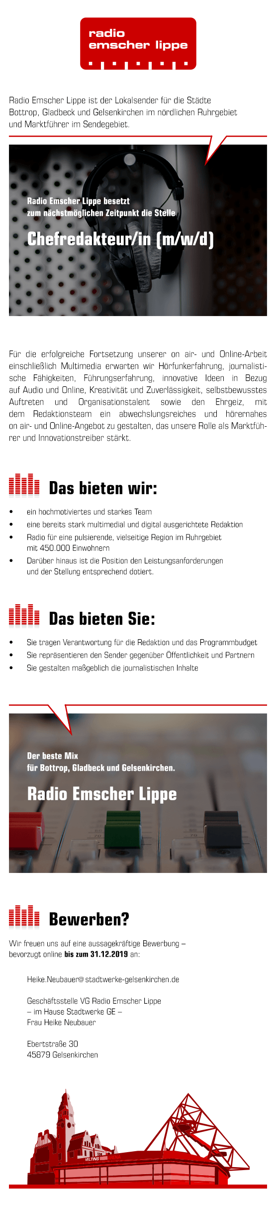 Radio Emscher Lippe sucht Chefredakteur (m/w/d)