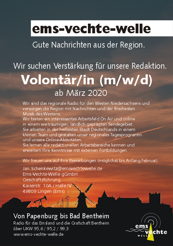 Ems-Vechte-Welle sucht Volontär/in (m/w/d)