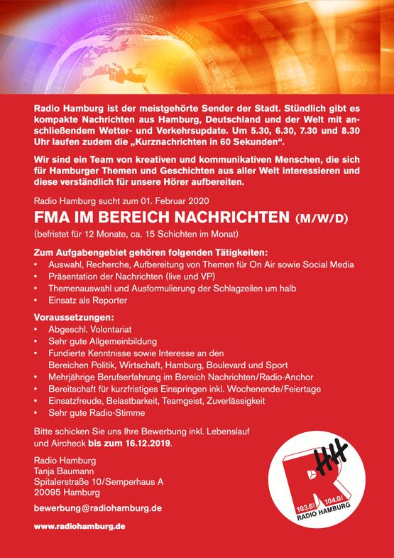 Radio Hamburg sucht FMA im Bereich Nachrichten (m/w/d)