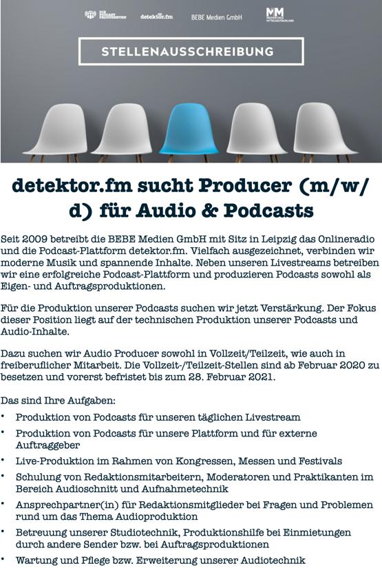 detektor fm sucht Producer (m/w/d) für Audio & Podcasts