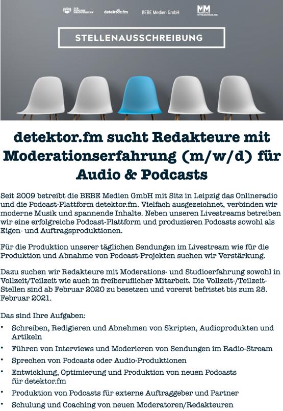 detektor.fm sucht Redakteur mit Moderationserfahrung (m/w/d) für Audio und Podcasts