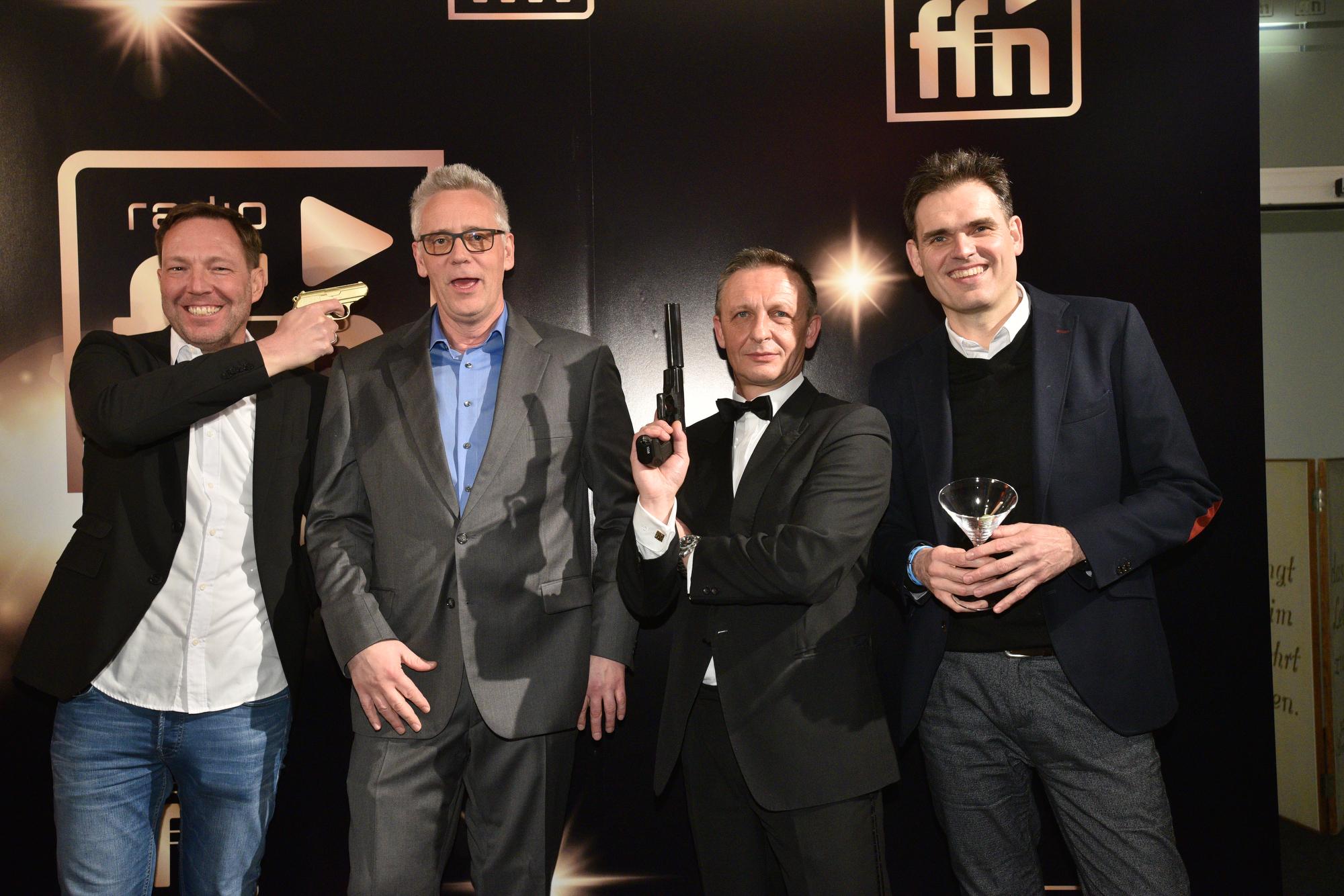 Frank Bremser (CALLACOMEDY, Baumann und Clausen); Volker Marczynkowski ffn; James Bond; Dirk van Loh, GF Regiocast (Bild: ©ARP/SCHEFFE)