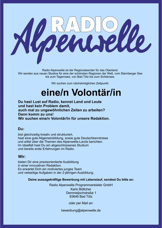 Radio Alpenwelle sucht Volontär (m/w/d)