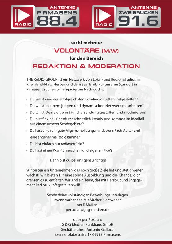 Antenne Pirmasens und Antenne Zweibrücken suchen Volontäre für Redaktion und Moderation (m/w/d)