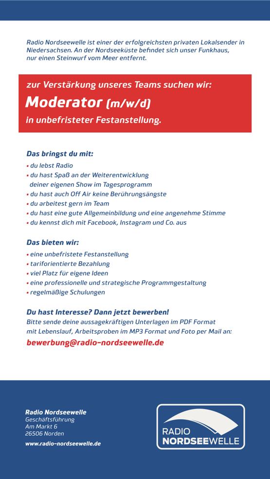 Radio Nordseewelle sucht einen Moderator (m/w/d) in unbefristeter Festanstellung
