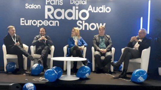 Roundtable auf der Hans Knobloch, Christian Schalt, Caroline Grazé, Vincent Benveniste,Helmut Poppe bei der European Radio Show 2020 (Bild: ©RADIOSZENE)