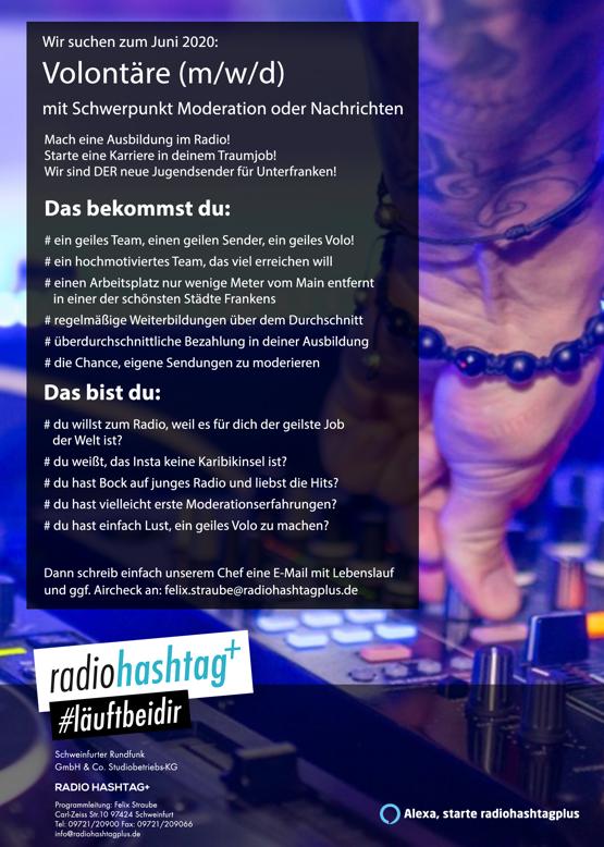 RADIO HASHTAG+ sucht Volontäre (m/w/d) für Moderation oder Nachrichten