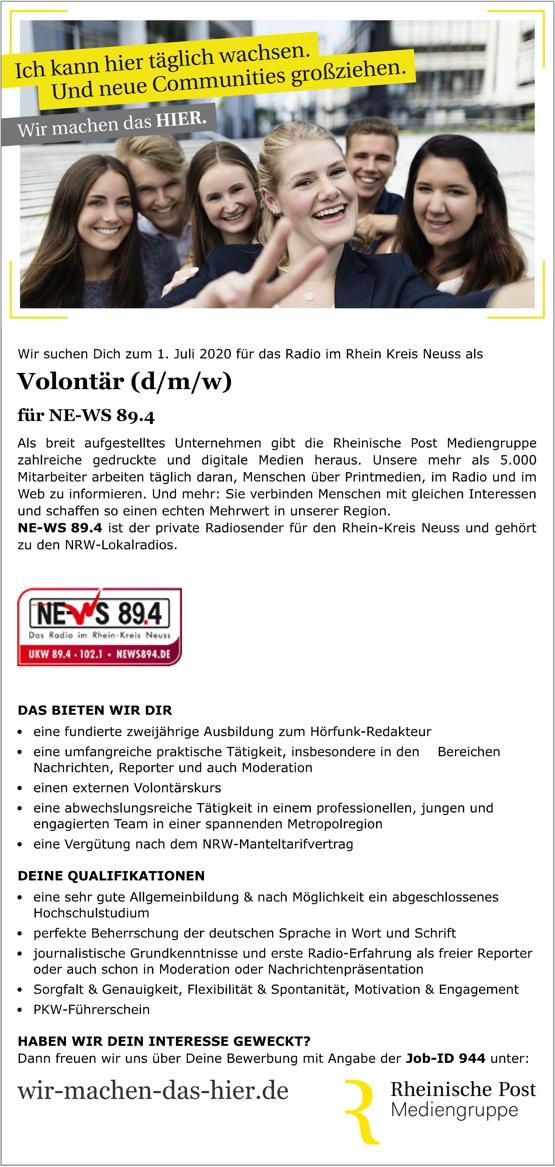 NE-WS 89.4 sucht Volontär (d/m/w)