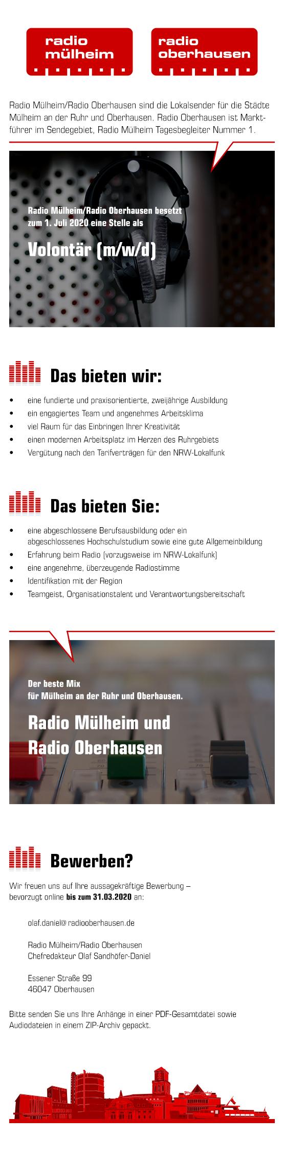 Radio Mülheim/Radio Oberhausen suchen Volontär (m/w/d)