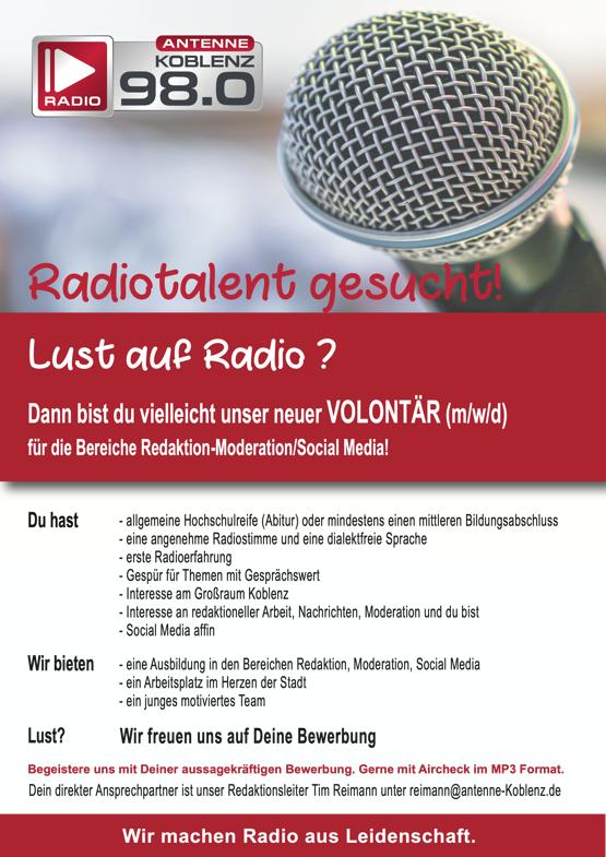 Antenne Koblenz sucht Volontär (m/w/d)