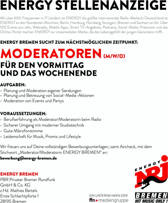 ENERGY Bremen sucht Moderatoren (m/w/d) für den Vormittag und das Wochenende