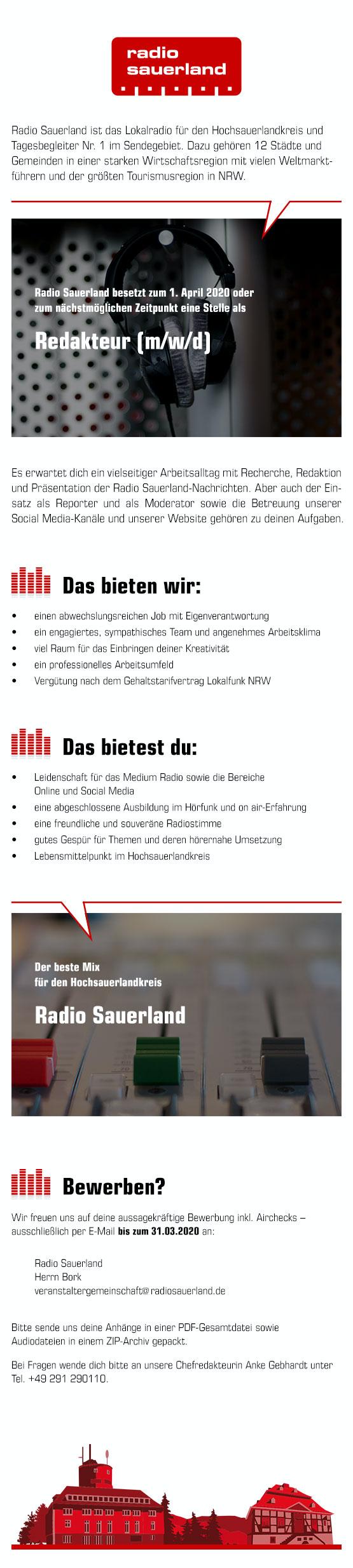 Radio Sauerland sucht zum 1. April 2020 einen Redakteur (m/w/d)
