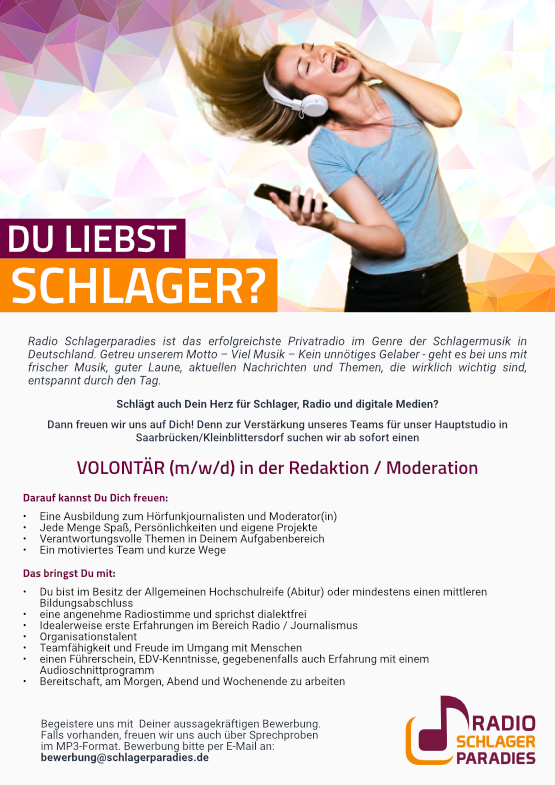 Radio Schlagerparadies sucht Volontär (m/w/d) in der Redaktion / Moderation