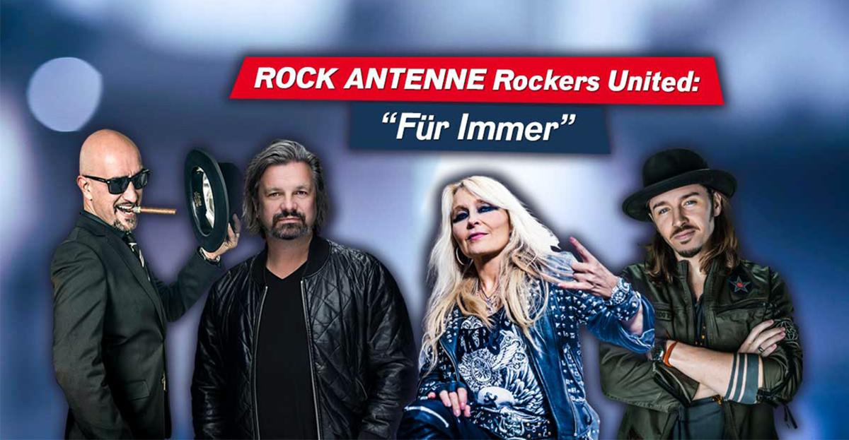Rockers United: Alex Wesselsky, Henning Wehland, Doro Pesch und Gil Ofarim (Bild: ROCK ANTENNE)