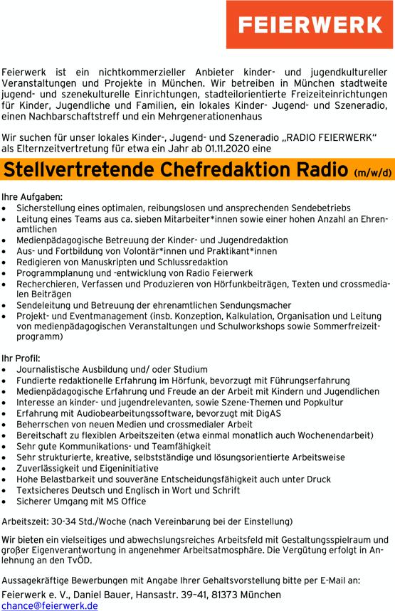 RADIO FEIERWERK sucht stellvertretende Chefredaktion Radio (m/w/d)
