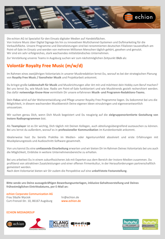 echion sucht Volontär Royalty Free Music (m/w/d)